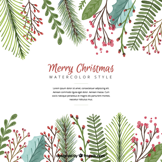 christmas-background-with-watercolor-leaves_23-2147576963