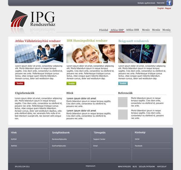 Az IPG Rendszerház weboldalának megtervezése.