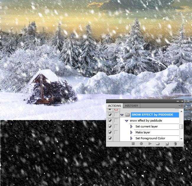 Egy ingyen letölthető hóesés Photoshop action klasszikus stílusban a  psd-dude.com oldalról. fbe6f4acde